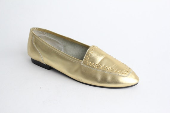 size 7 | vintage gold leather shoes | gold leather skimmer | vintage 80s metallic leather flats | 37.5