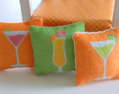 KIT - Dollhouse Pillow Cushions - Happy Hour Design - 1/12th Scale