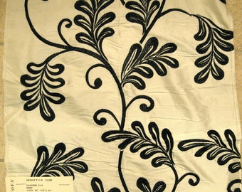 Lee Jofa Palmavera Black Embroidered Silk Designer Fabric Sample on Cream