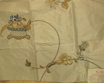 Embroidered Silk Cowtan Tout Chinoisery Designer Fabric Sample Elegant Potted Floral