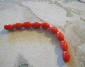 Orange Vintage Glass Barrel Beads