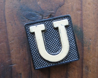 Vintage Wood Anagram Game Piece, U game piece, Vintage U initial, Black and Cream, gifts for him, gifts for her, Gifts under 5