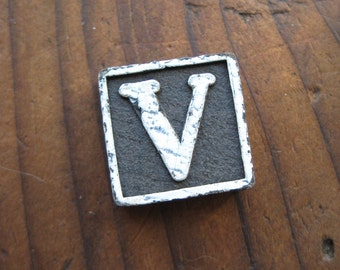 Vintage Wood Anagram Game Piece, V game piece, Vintage V initial, Black and White, gifts for him, gifts for her, Gifts under 5