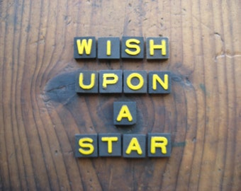 Wish Upon a Star Vintage Wood Anagram Game Pieces, Gifts under 25, Gifts for Her, Inspirational
