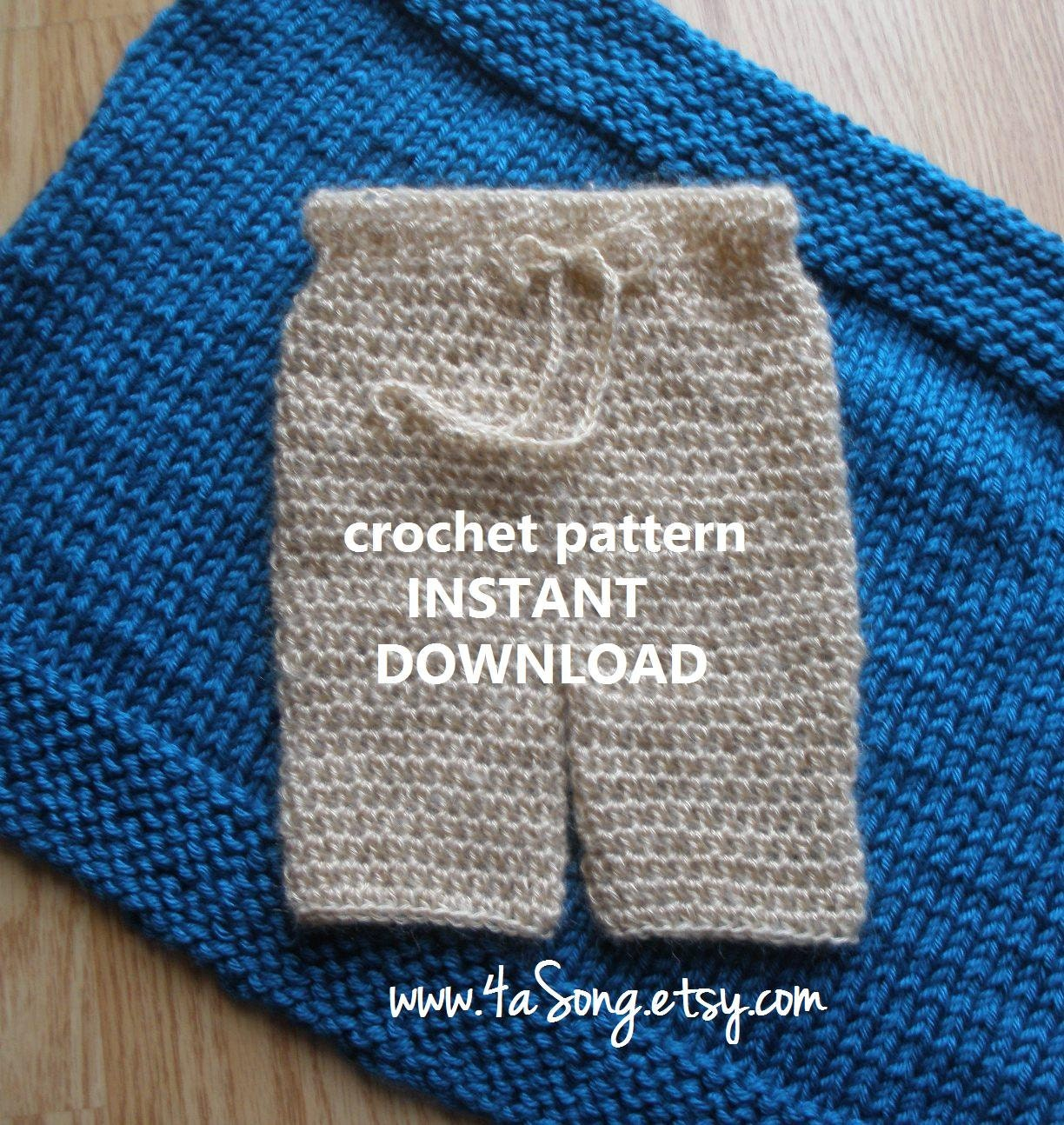 Crochet Pants : Newborn Pants Photo Prop Crochet Pattern PDF Number 245 by 4aSong