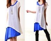 SALE- Free Shipping- Morocco -  layered asymmetrical 2 tunic dresses (Q3109)