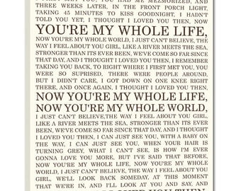 Personalized Lyrics Or Love Story For Him Her Canvas Wedding Art 16x20