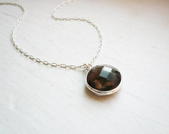 Smoky Quartz Necklace in Sterling Silver - Dainty Everyday Gray Brown Gemstone Necklace