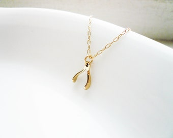 Tiny Wishbone Necklace in Gold Filled and Natural Brass- Sweet and Simple for Good Luck