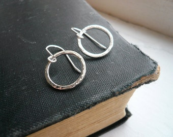 Small Silver Hoop Earrings in Sterling Silver - Hammered Circles - Simple Everyday Jewelry
