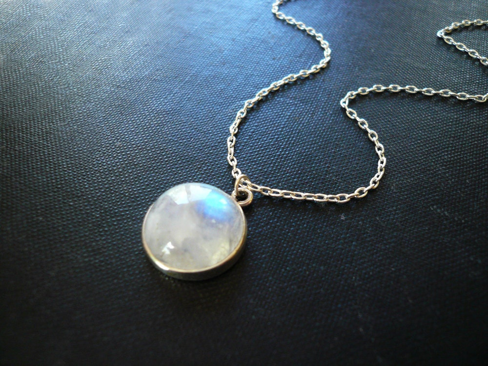 Moonstone Necklace in Sterling Silver Bezel Set Smooth