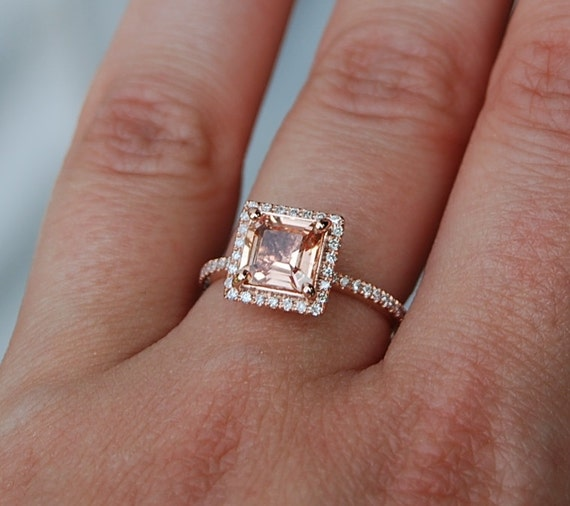 1 58ct Princess Peach Sapphire Diamond Ring 14k Rose Gold