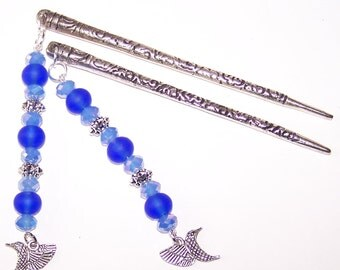 Hair Sticks - Style 3 - Sea Glass and Hummingbirds - Cobalt Blues