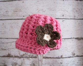Crochet Baby Hat, Baby Girl Hat, Newborn Girl Hat, Baby Newsboy Hat, Infant Girl Hat, Baby Beanie, Hat for Baby Girls, Newborn Hat, Pink