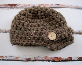Crochet Toddler Hat, Boy Toddler Hat, Boy Newsboy Hat, Boy Beanie, Hats for Boys, Hats for Toddlers, Children's Hats, Brown