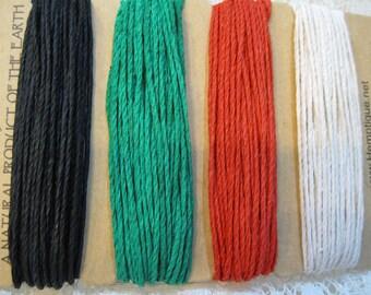 Primary Colors Hemp Macrame Cord Twine 4 colors 29.8 ft each