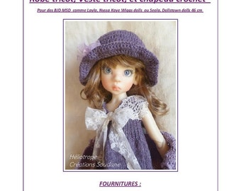 61. English and  French INSTANT DOWNLOAD PDF knitting Pattern for msd bjd Kaye Wiggs or Dollstown dolls 18""