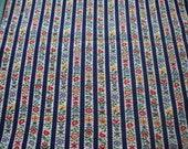 Vintage Plisse Seersucker Fabric, Stripes Blue and Folk Art Flowers 1 yard