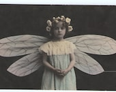 Fairy girl with wings single vintage image
