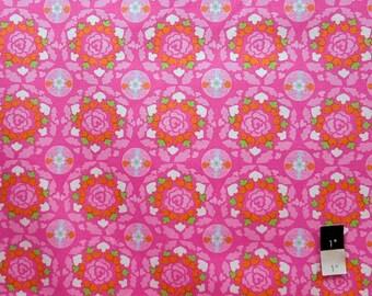 Dena Designs LIDF001 Sunshine Circle Pink LINEN Fabric 1 Yd