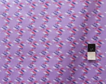 Eleanor Grosch PWEG010 Imperial Pheasant Pheasant Feather Stripe Purple Cotton Fabric 1 Yd