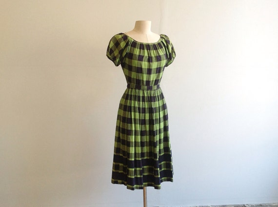 Early 1950s Plaid Cotton Bohemian Dress.