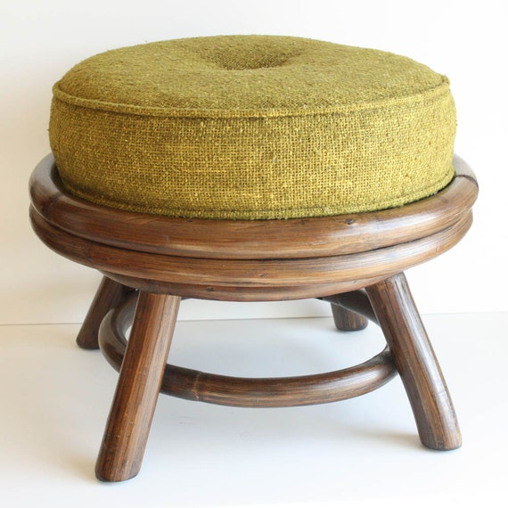 Vintage Foot Stool Footstool Foot Rest Ottoman Round