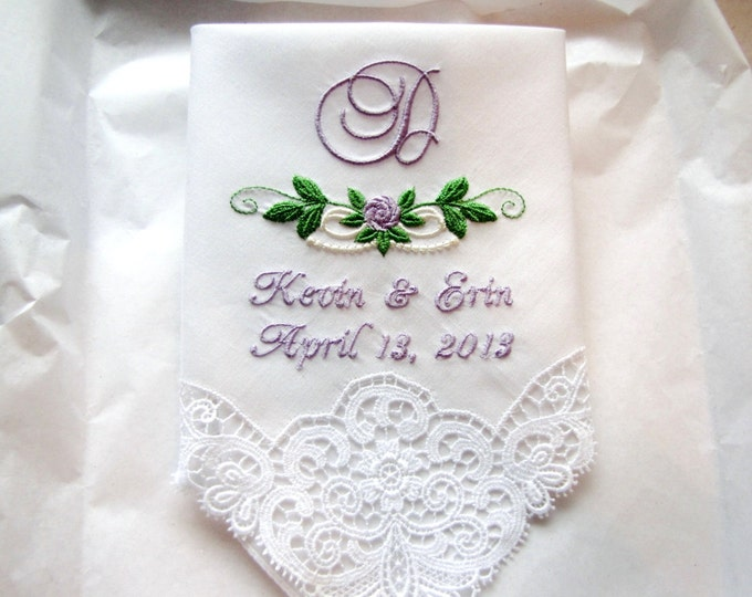 Swiss Lace Custom Embroidered Wedding Handkerchief, Custom Wedding Hankderchiefs, personalized wedding hankies,
