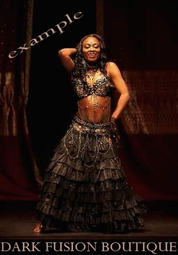 Ruffle Skirt, Black Combo, Cabaret, Vaudeville, Steampunk, Noir, Gothic, Bridal, Belly Dance, Tribal