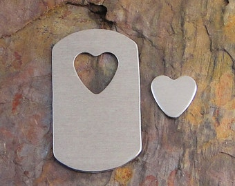 """5 Deburred 18G Aluminum 1 1/8"""" x 2"""" DOG TAGS w/ heart cutout dogtag Stamping Blanks includes heart"""