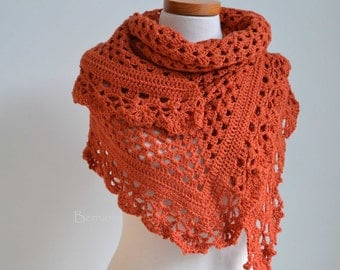 Crochet lace shawl, dark orange, H840