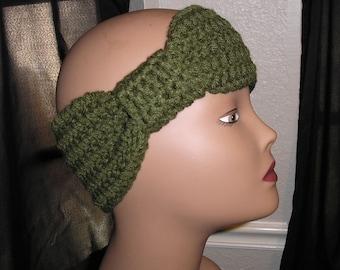 Womans Miss Teen Crochet Bow Headband Forest Green