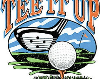 "GOLF Fabric -""Tee It Up""  on ONE 18"" x 22"" Panel for Quilt or Sew. Actual picture is 11"" x 13"" on white background."