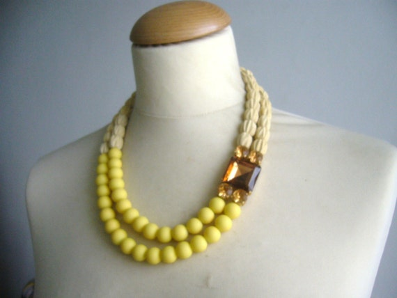 bridal jewelry,chunky yellow necklace