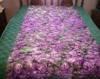 Violet Purple/ Dark Green Leaves Cotton Flannel Batik Twin Size Quilt