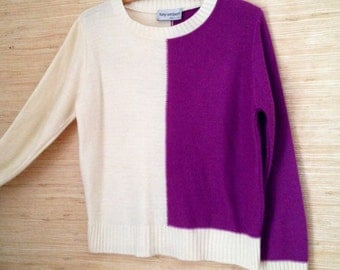 CLEARANCE SALE / Vintage 1980s Color Block Sweater