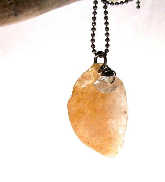 On SALE Herkimer Diamond Drilled Beach Stone Jewelry Raw Quartz Moonstone River Pebble Sterling Silver Pendant MOHAWK PEACH Semiprecious Ge