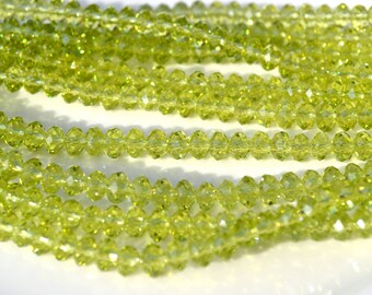Kiwi Green Faceted Rondelle Crystals   50