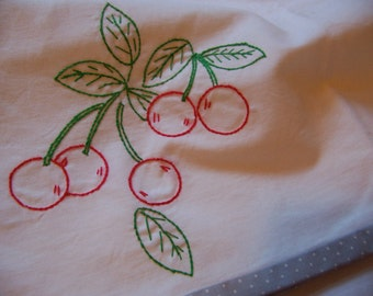 cherries and polka dots kitchen towel
