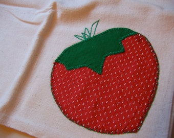 dotted swiss strawberry applique kitchen towel