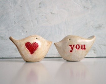 """Wedding cake toppers // Love birds // """"heart"""" you // clay love birds for your wedding cake"""