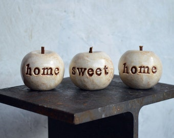 Rustic home sweet home apples ... Handmade keepsake clay housewarming or welcome home gift ... 3 Text Apples