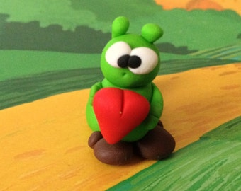 Green Caterpillar (Ugo il Bruco) - A Little Polymer Clay Creation - No1