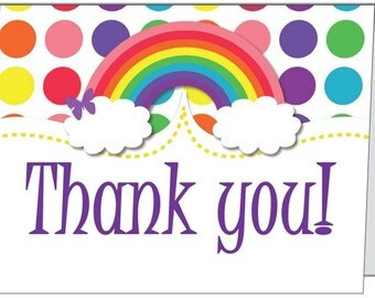 Set of 10 rainbow Party Folded Thank You Cards