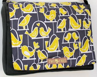 Gray Yellow Bird  Cage MeSSENGER Book Laptop Diaper BAG