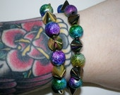 Galaxy and spike beaded bracelet (gold or gunmetal spikes)