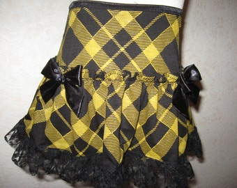 NEW Black,Gold Tartan Check Lace Frilly Festival Mini Skirt,Punk-All sizes,Goth,sequoia