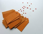 Orange thick card price tags hang tags 2 x 1 inches