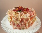 Strawberry Faux Flower Petal Cake with Beaded Flowers on the Top