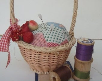 Vintage Quilt Pin Cushion Upcycled with Wicker Basket Ribbon Fabric Flowers